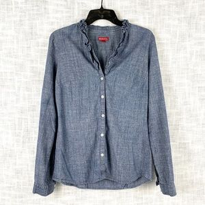 Merona ruffled collar button-up chambray top, XS